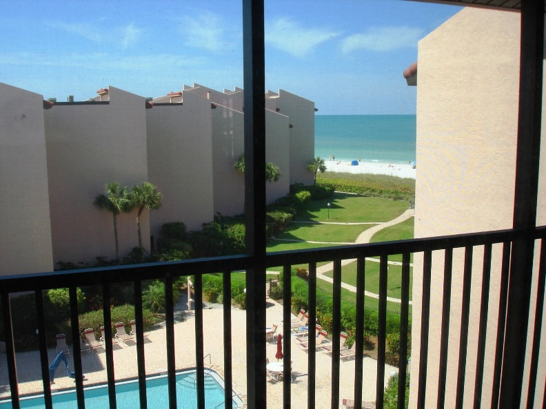 View of the Gulf of Mexico, Crescent Beach, and the Siesta Breakers Pool Area
