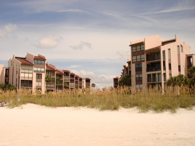 View of Siesta Breakers from Crescent Beach